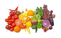 Many different fruits and vegetables. On white background stock photos