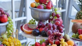 Many different fruits an the wedding reception stock image