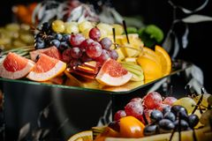 Many different fruits an the wedding reception. stock photos