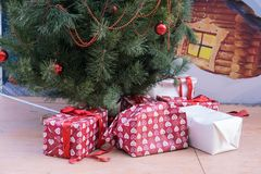 Many different gift box under new year tree royalty free stock image