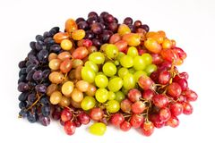 Many different grape varieties isolated on white background royalty free stock photography