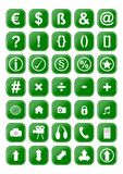 Many different green icons Stock Photography