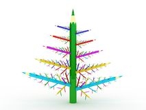 Many different green pencils in the form of a tree Royalty Free Stock Photos