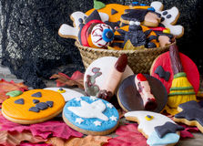 Many different haloween cookies Royalty Free Stock Photo