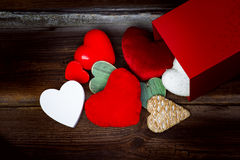Many Different Hearts On Wooden Background Royalty Free Stock Image
