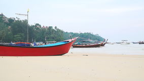 Many different longtail boats in the Bang Tao bay, Phuket, Thailand stock video