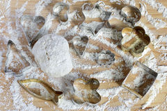 Many different molds for baking Royalty Free Stock Images