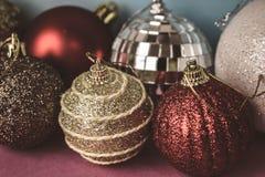 Many different multicolored shiny Christmas decorative beautiful xmas festive Christmas balls, Christmas tree toys background royalty free stock photos