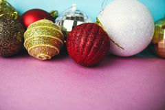 Many different multicolored shiny Christmas decorative beautiful xmas festive Christmas balls, Christmas tree toys background royalty free stock photos