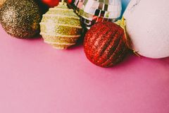 Many different multicolored shiny Christmas decorative beautiful xmas festive Christmas balls, Christmas tree toys background stock photos