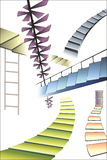 Many different multicolored stairs Royalty Free Stock Photo