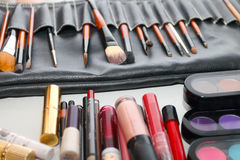 Many different natural brushes for make-up Stock Images