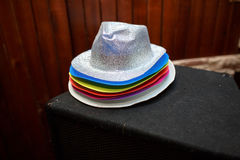 Many different nice color hats royalty free stock image