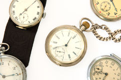 Many different old watches. Many different old watches on overwhite background Stock Image