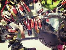 Many different padlocks Stock Photo