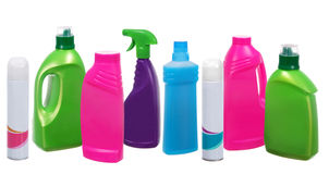 Many different plastic bottles of cleaning products Stock Images