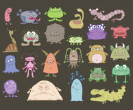 Many different scary monsters. On a white background stock illustration