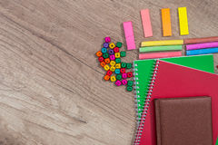 many different school supplies on wooden Stock Image