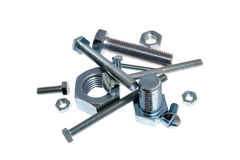 Many different screw-bolts with nut Royalty Free Stock Photography