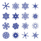 Many different shapes of snowflakes Stock Photography