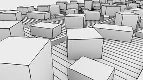 Many different sized cartons moving on conveyors, sketchy. 3D rendering Royalty Free Stock Photo