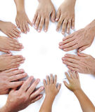 Many different sizes hands Royalty Free Stock Images