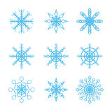 Many different snowflakes icons set Stock Image