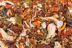 Many different spice background blend. Food texture Royalty Free Stock Photo