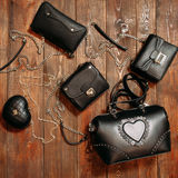 Many different stylish leather woman's bags Royalty Free Stock Photography