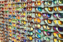Many different sunglasses at the sale Stock Images