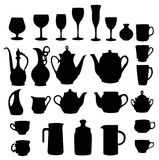 Many different tableware silhouette.  Royalty Free Stock Images