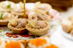 Many different tartlets with pate on a festive table Royalty Free Stock Photo