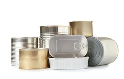 Many different tin cans on white background