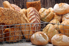 Many different types of bread in metal baskets Royalty Free Stock Image