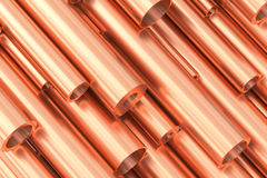 Many different various sized copper pipes. Metallurgical industry production and non-ferrous industrial products abstract illustration - many different various Stock Image