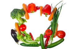 Many different vegetarian vegetables like frame. Stock Image