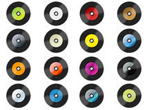 Many different vinlys. Many colorful different vinlys on white background Stock Photo