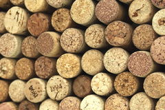 Many different wine corks in the background Stock Photo