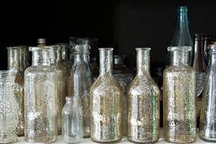 Many small glass medical bottles. Stock Photo