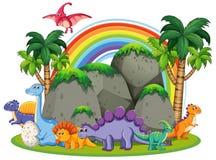 Many dinosaur in nature. Illustration royalty free illustration