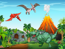 Many dinosaurs in the field Royalty Free Stock Photography