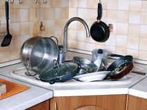 Many of dirty dishes in the sink royalty free stock images