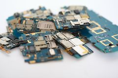 Many discarded circuit boards. Chip, circuitry Stock Photo