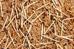 Many disorganized matchsticks with colorful heads Stock Photo