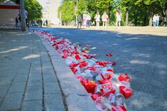 Free Many Disposable Plastic Cups Lying On The Street Stock Photography - 189643832