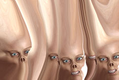 Many Distorted Monster Faces. A lot of monster faces joined together by skin Royalty Free Stock Photo