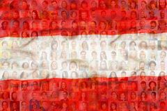 Many diverse faces on Austria national flag. Many diverse faces of men women and children on Austria national flag Royalty Free Stock Photos