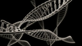 Many DNA chains rotation on the black background stock footage