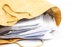 Many document iin brown paper bag Royalty Free Stock Images