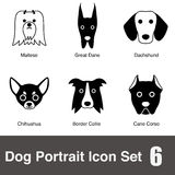 Many dog face character icon design set Royalty Free Stock Photography
